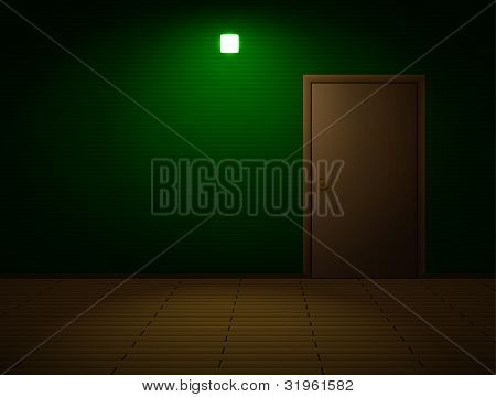 Very dark room with door