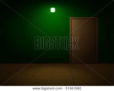 Very dark room with door