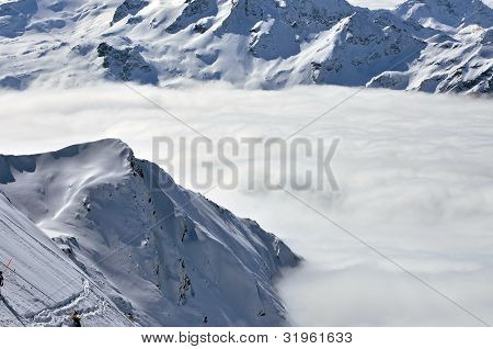 Winter View From Kitzsteinhorn Ski Resort, Austrian Alps