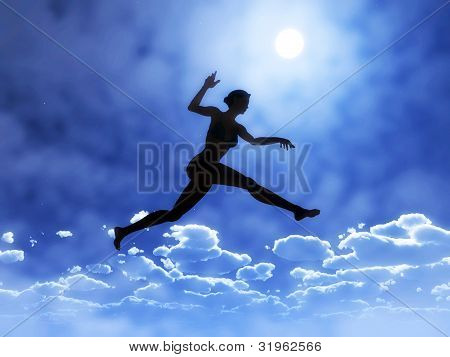 Young woman is jumping above clouds