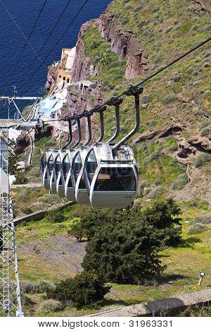 Cable car at Santorini island