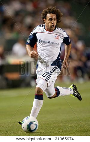 CARSON, CA. - APRIL 30: New England Revolution defender Kevin Alston #30 during the MLS game on April 30 2011 at the Home Depot Center.