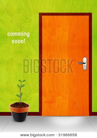 Closed Door With Coming Soon Mesage