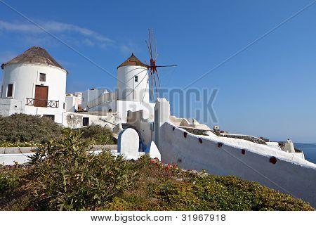 Old windmills at Santorini island