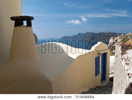 House With Chimney In Santorini Ia Village