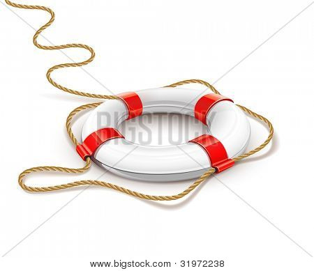 rescue ring for quick help vector illustration isolated on white background. EPS10. Gradient mesh used. Transparent objects used for shadows and lights drawing