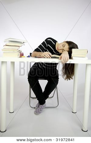 Girl Sleeping While Studying Sitting