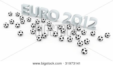 Football balls and EURO 2012 text