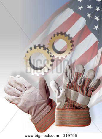 Symbole für amerikanische Arbeitskräfte amerikanische Industrie