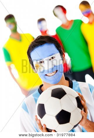 Group of footballs fan - isolated over a white background