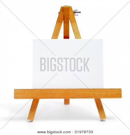 a blank label on a easel on a white background