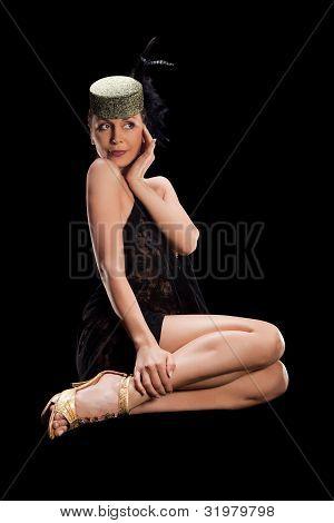 sexy woman in black tank top dress