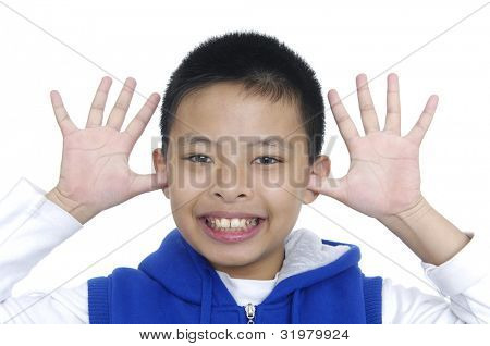 children with funny expression gesture open hand fingers isolated on white