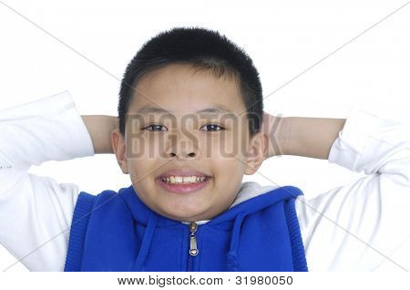 teenage boy with arms on ears and closed eyes isolated