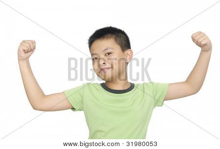 portrait of an innocent little boy flexing biceps isolated against white background