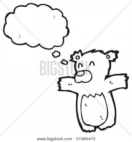 cute teddy bear with thought bubble