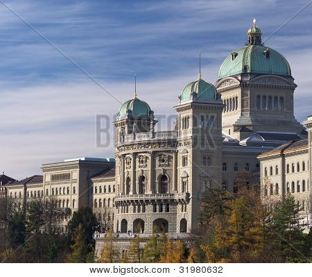 Federal Palace Of Switzerland Side View In Autumn