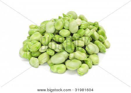 a pile of raw broad beans on a white background