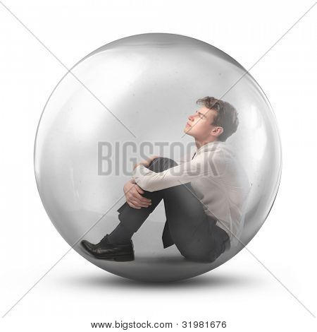 Young man trapped in a bubble