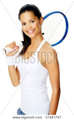 Healthy happy hispanic sport woman with a wristband poses with a tennis racket