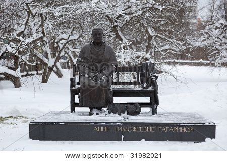 Sculpture Of Anna Gagarina Timofeevna (mother Of Fist Cosmonaut). Gagarin (former Gzhatsk). Russia.