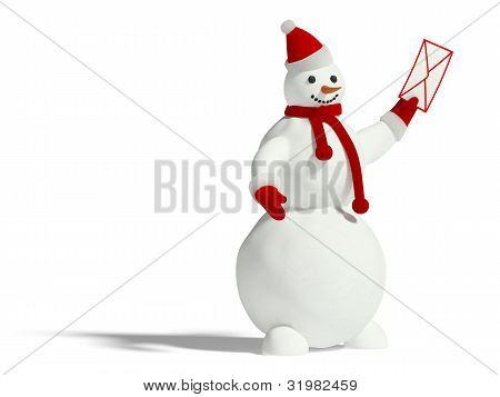 Snowman With Envelope
