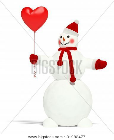 Snowman With Balloon