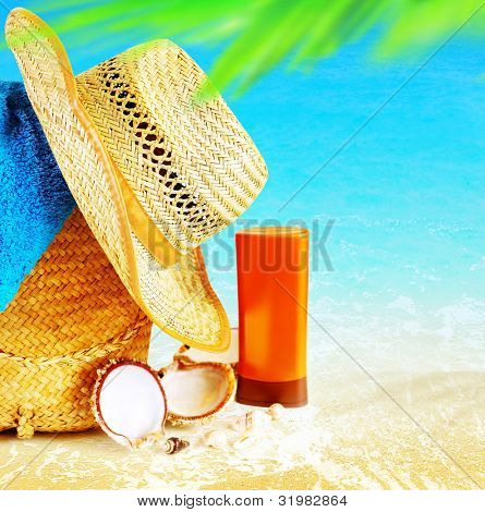Summertime holidays background, concept image of vacation and travel, beach items on the sand, paradise island for relaxing getaway, natural spa resort, freedom lifestyle