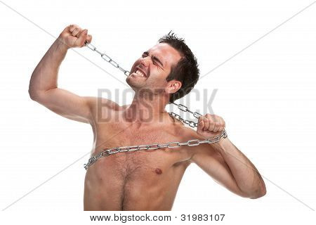 Young muscular man with a chain