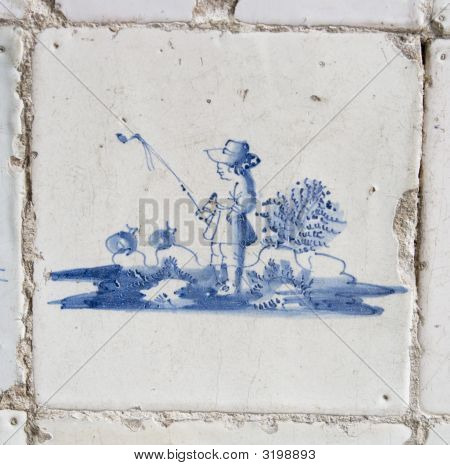 Vintage Delft Blue Tile With Fisherman