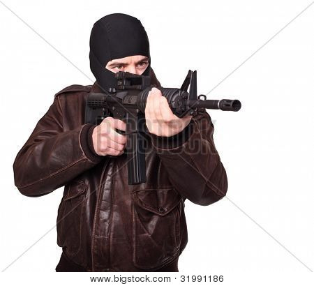 portrait of criminal with m4 rifle on white