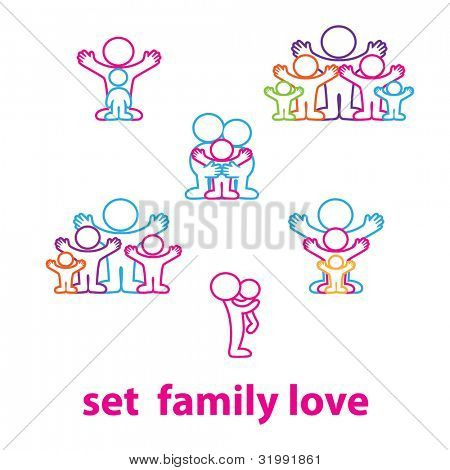 Collection of icons - the love family: kids and parents