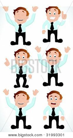 Set of Businessman Cartoon Characters