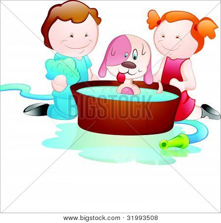 Cartoon Kids Bathing Dog