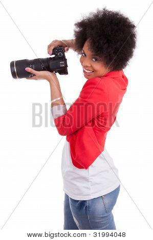 Young African American  Photographer With Camera