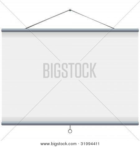 white blank projector screen