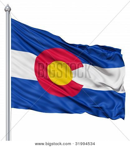 Waving Flag of USA state Colorado