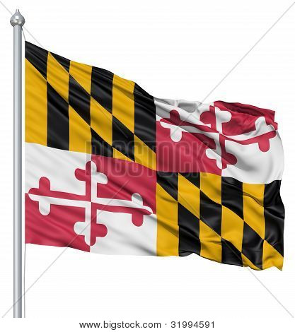 Waving Flag of USA state Maryland