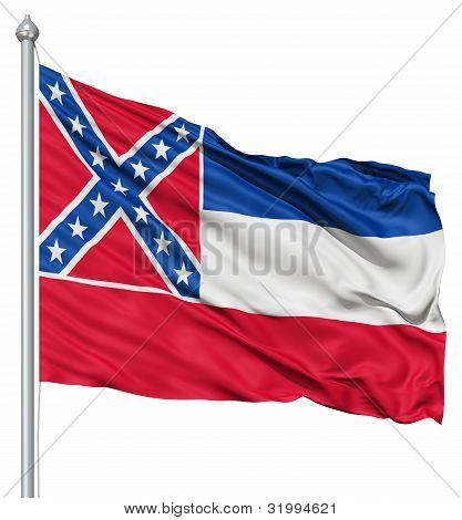 Waving Flag of USA state Mississippi