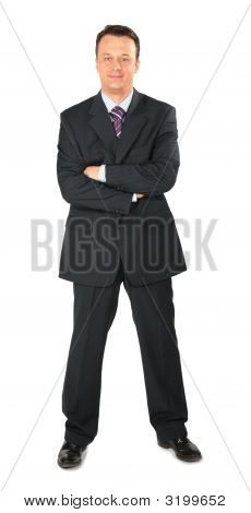Businessman In Black Suit Full Body