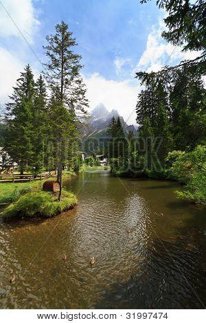 Small Lake In San Martino Di Castrozza