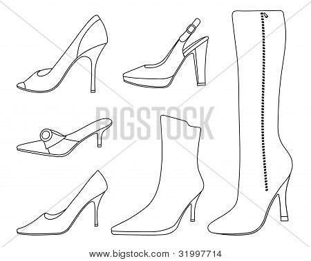 Collection of women shoes