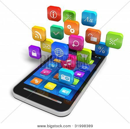 Smartphone with cloud of application icons