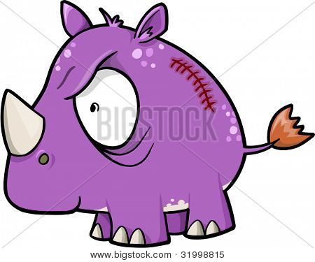 Crazy Insane Rhinoceros Animal Safari Vector Illustration