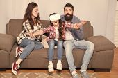 Lot Of Concern Surrounding Children Using Vr Headsets. Daughter Stuck In Virtual Reality. Digital Wo poster