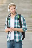College Life. College Student Headphones Smartphone. Online Course. Audio Book Concept. Educational  poster