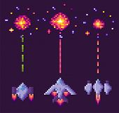 Spaceship Shooting, Explosion Of Pixelated Object, Invaders And Cosmic Sign On Purple, Video And Pix poster