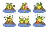 Funny Frog Characters Set, Cute Humanized Amphibian Animal In Different Situations Vector Illustrati poster