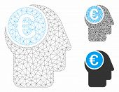 Mesh Euro Mind Model With Triangle Mosaic Icon. Wire Carcass Polygonal Mesh Of Euro Mind. Vector Mos poster