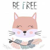 Cute Sweet Little Cat Girl Smiling Face Art. Lettering Quote Be Free. Kids Nursery Scandinavian Hand poster